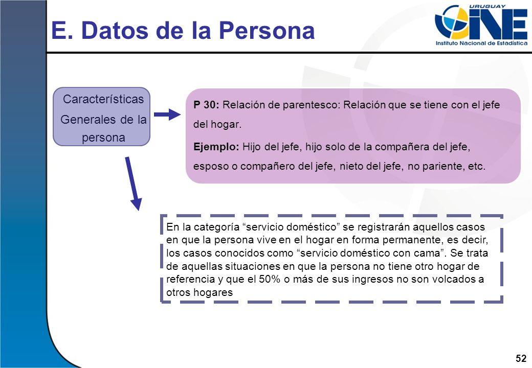 52 E. Datos de la Persona P 30: Relación de parentesco: Relación que se tiene con el jefe del hogar. Ejemplo: Hijo del jefe, hijo solo de la compañera