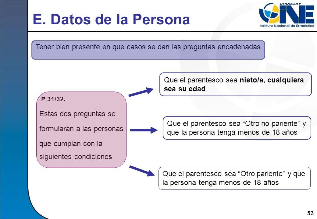 53 E. Datos de la Persona Tener bien presente en que casos se dan las preguntas encadenadas. P 31/32. Estas dos preguntas se formularán a las personas
