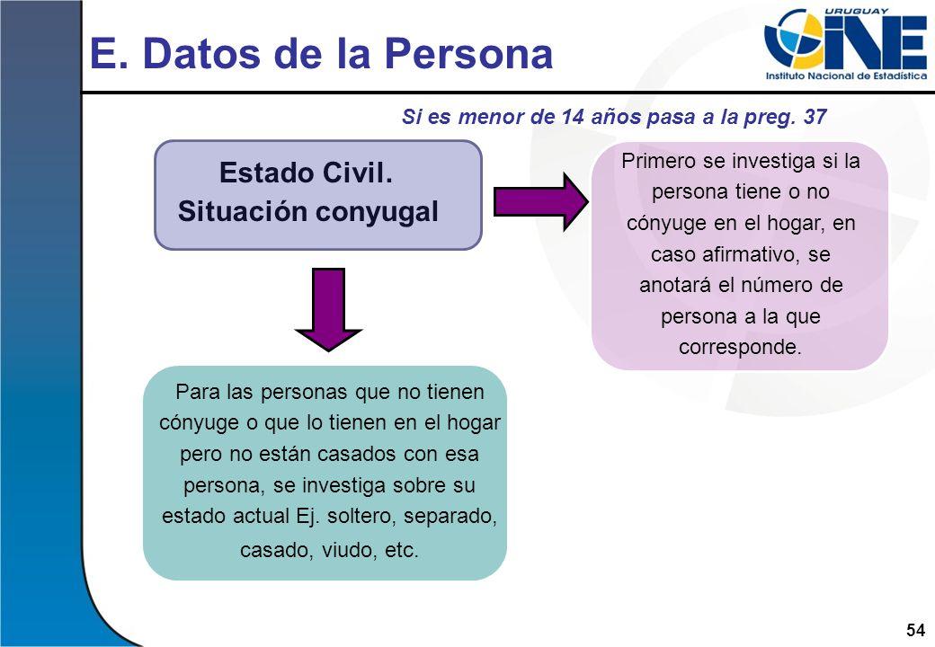 54 E. Datos de la Persona Estado Civil. Situación conyugal Primero se investiga si la persona tiene o no cónyuge en el hogar, en caso afirmativo, se a
