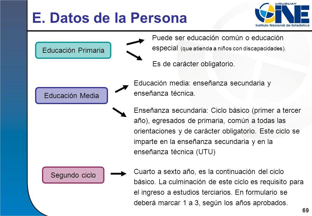 69 Educación Primaria E. Datos de la Persona Educación media: enseñanza secundaria y enseñanza técnica. Enseñanza secundaria: Ciclo básico (primer a t