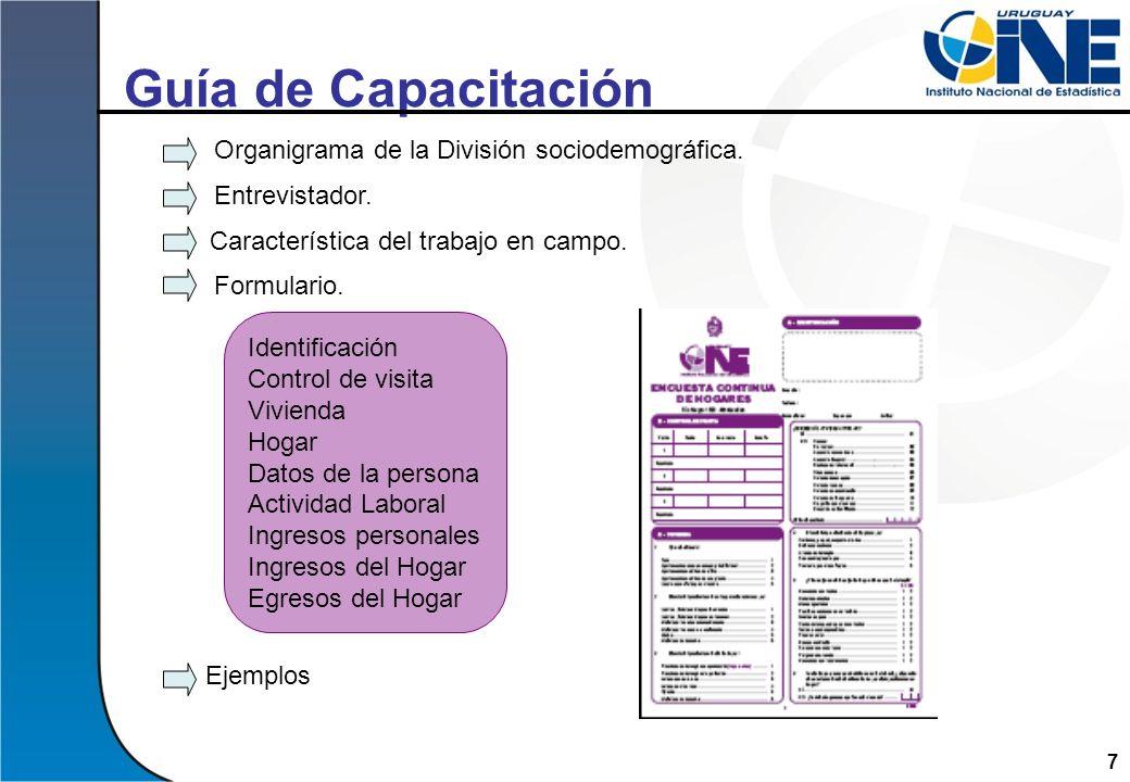 7 Guía de Capacitación Organigrama de la División sociodemográfica. Entrevistador. Característica del trabajo en campo. Formulario. Ejemplos Identific