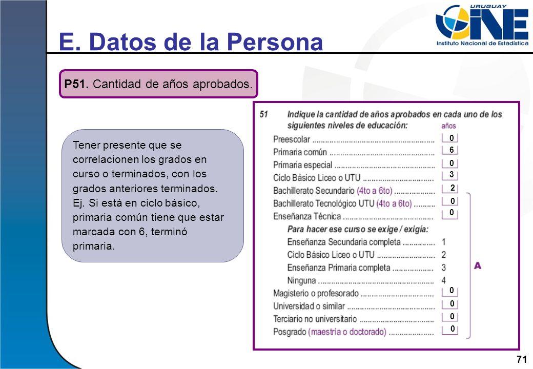 71 E. Datos de la Persona P51. Cantidad de años aprobados. Tener presente que se correlacionen los grados en curso o terminados, con los grados anteri