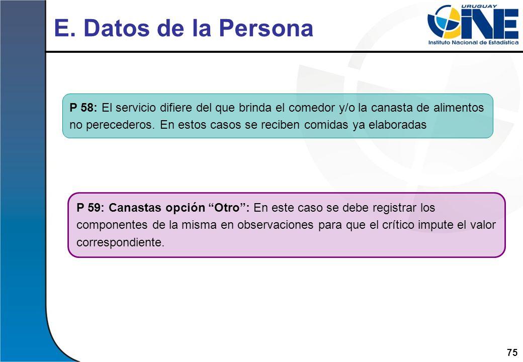 75 E. Datos de la Persona P 59: Canastas opción Otro: En este caso se debe registrar los componentes de la misma en observaciones para que el crítico