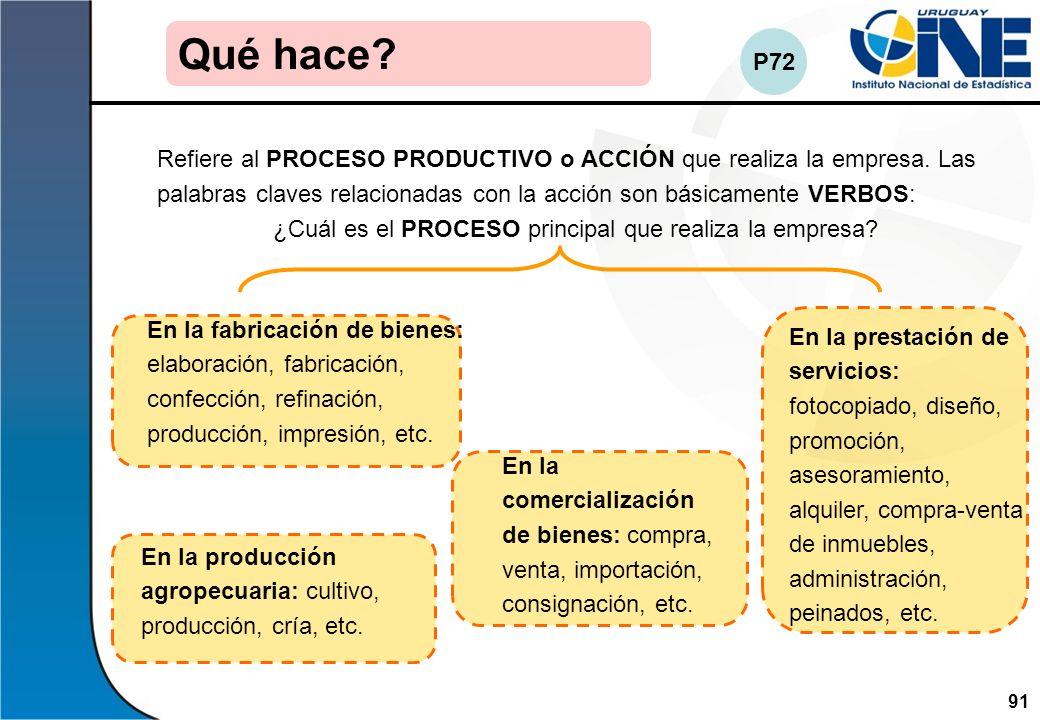 91Instituto Nacional de Estadística Refiere al PROCESO PRODUCTIVO o ACCIÓN que realiza la empresa. Las palabras claves relacionadas con la acción son