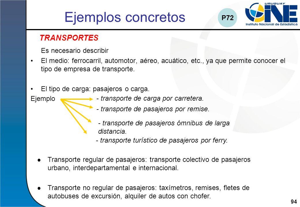 94Instituto Nacional de Estadística Ejemplos concretos Es necesario describir El medio: ferrocarril, automotor, aéreo, acuático, etc., ya que permite