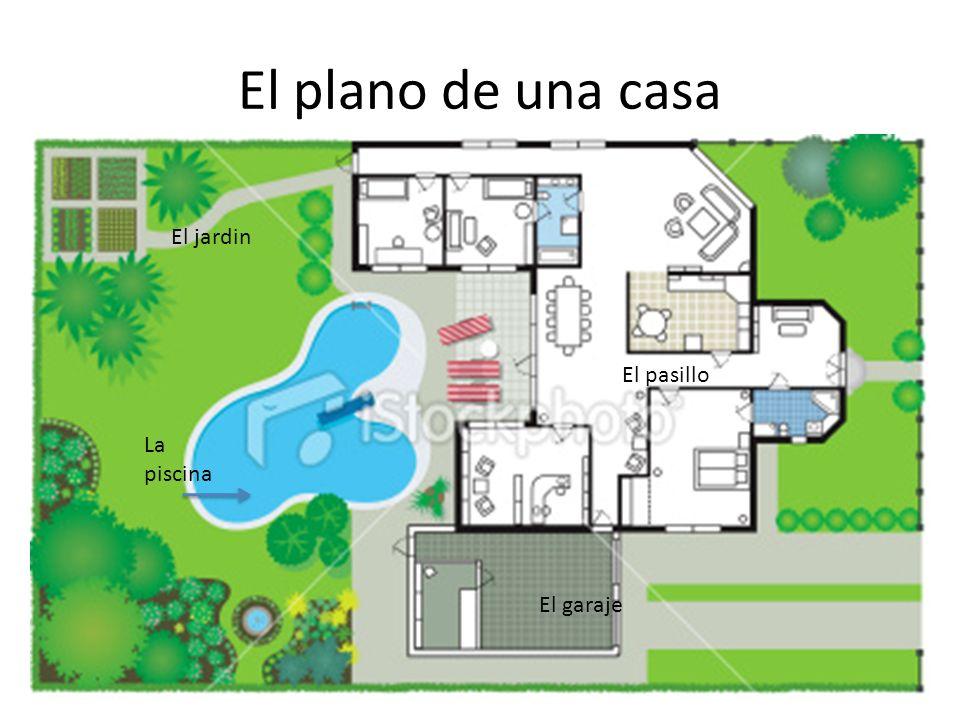 El plano de una casa La piscina El jardin El garaje El pasillo