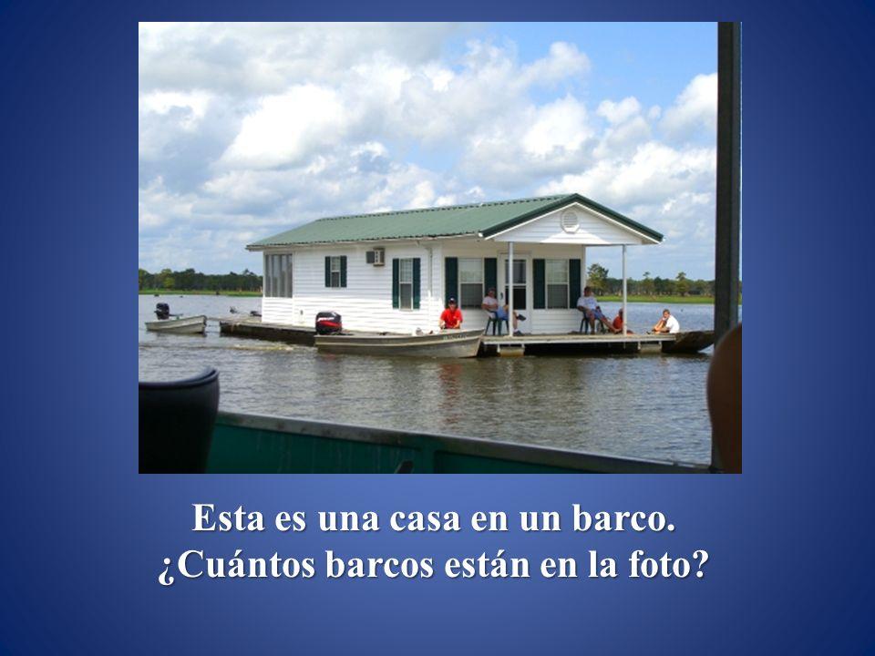 Esta es una casa en un barco. ¿Cuántos barcos están en la foto?