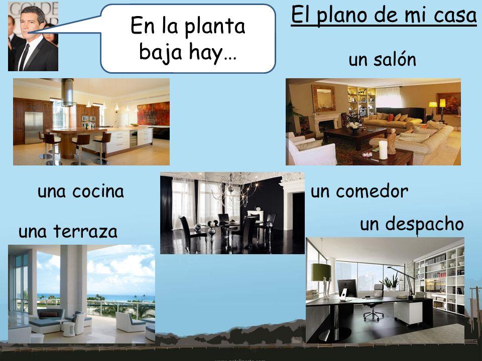 El plano de mi casa En la planta baja hay… un salón una cocinaun comedor una terraza un despacho