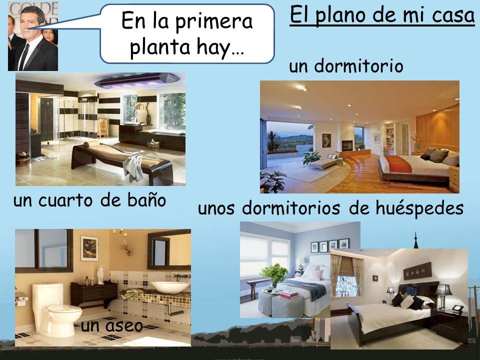 El plano de mi casa En la primera planta hay… un cuarto de baño un dormitorio un aseo unos dormitorios de huéspedes