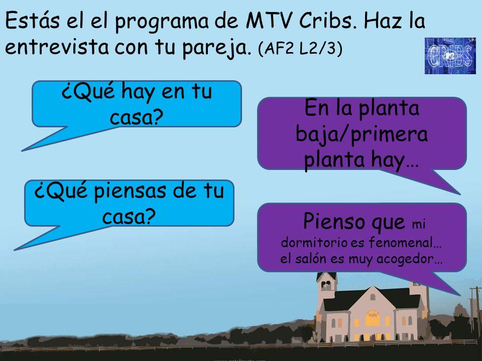 Estás el el programa de MTV Cribs. Haz la entrevista con tu pareja. (AF2 L2/3) ¿Qué hay en tu casa? En la planta baja/primera planta hay… ¿Qué piensas