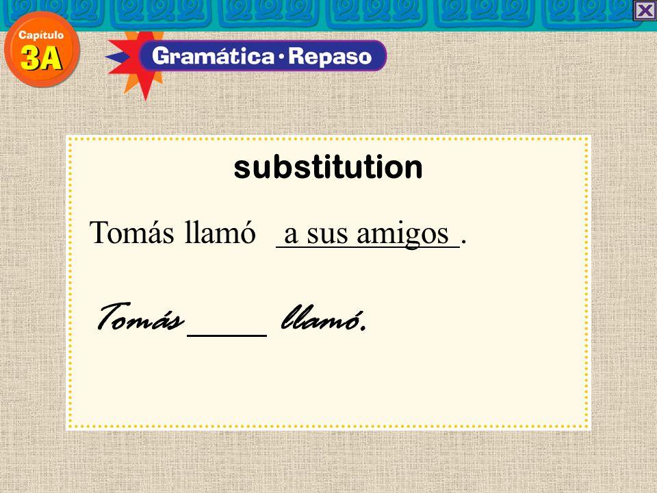 substitution Tomás llamó a sus amigos. Tomás llamó.