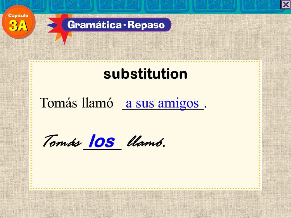 substitution Tomás llamó a sus amigos. Tomás los llamó.