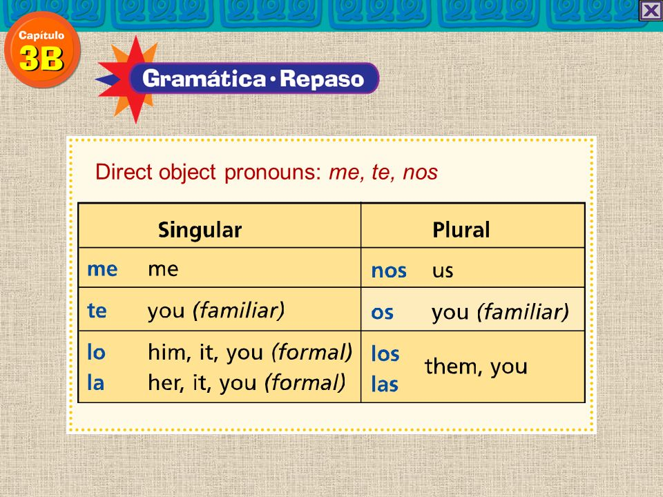 Remember that in Spanish the subject and the verb ending tell who does the action and the direct object pronoun indicates who receives the action.