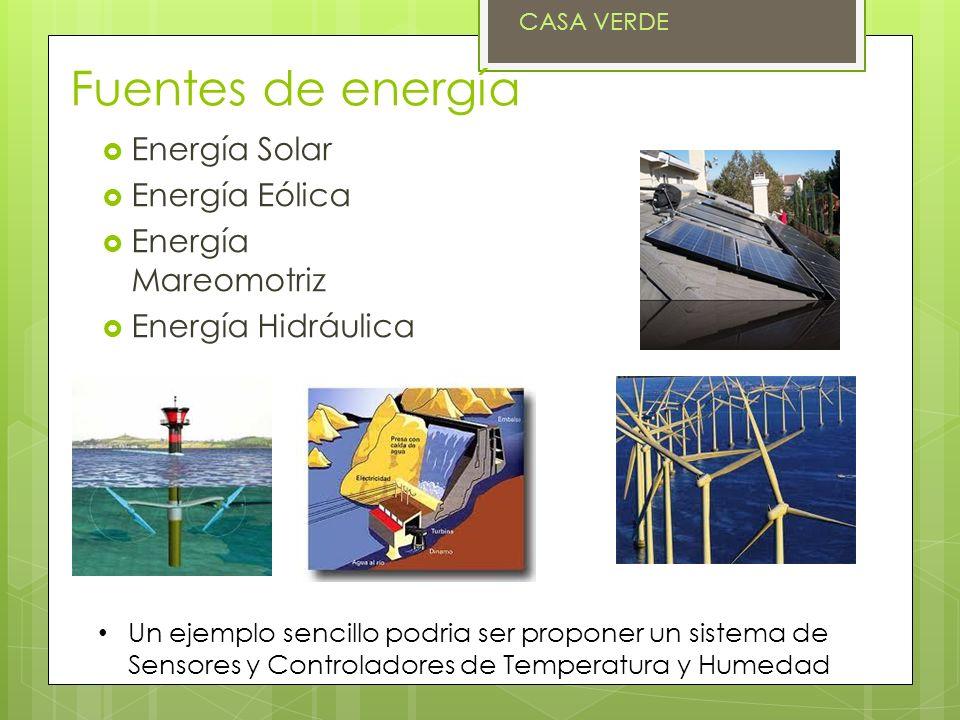 Fuentes de energía Energía Solar Energía Eólica Energía Mareomotriz Energía Hidráulica Un ejemplo sencillo podria ser proponer un sistema de Sensores y Controladores de Temperatura y Humedad CASA VERDE
