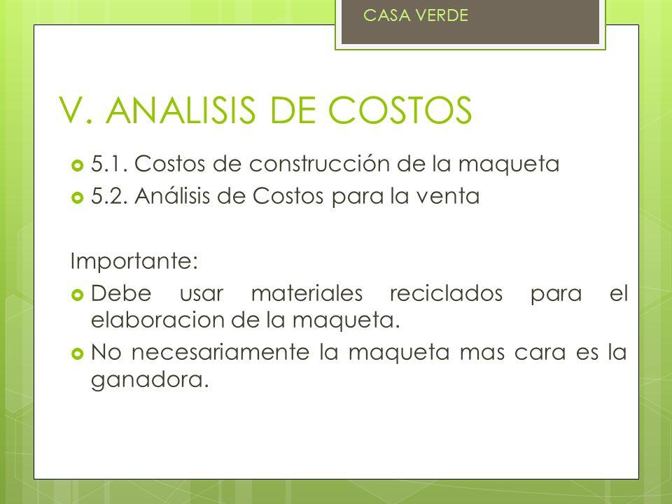 V. ANALISIS DE COSTOS 5.1. Costos de construcción de la maqueta 5.2. Análisis de Costos para la venta Importante: Debe usar materiales reciclados para
