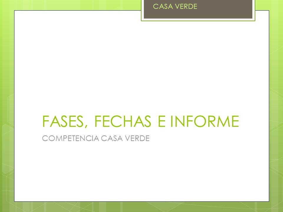 FASES, FECHAS E INFORME COMPETENCIA CASA VERDE CASA VERDE