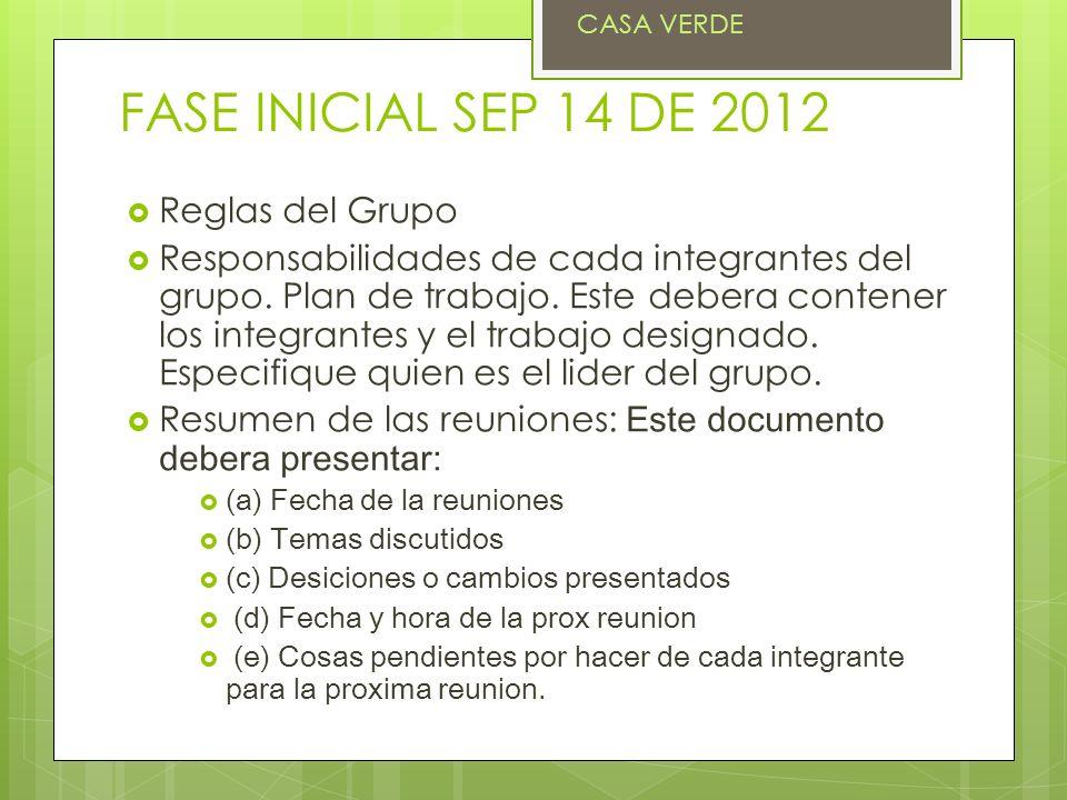 FASE INICIAL SEP 14 DE 2012 Reglas del Grupo Responsabilidades de cada integrantes del grupo. Plan de trabajo. Este debera contener los integrantes y