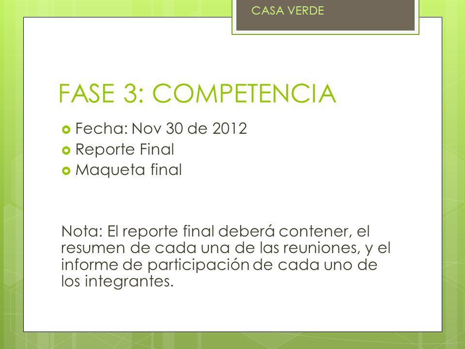 FASE 3: COMPETENCIA Fecha: Nov 30 de 2012 Reporte Final Maqueta final Nota: El reporte final deberá contener, el resumen de cada una de las reuniones, y el informe de participación de cada uno de los integrantes.