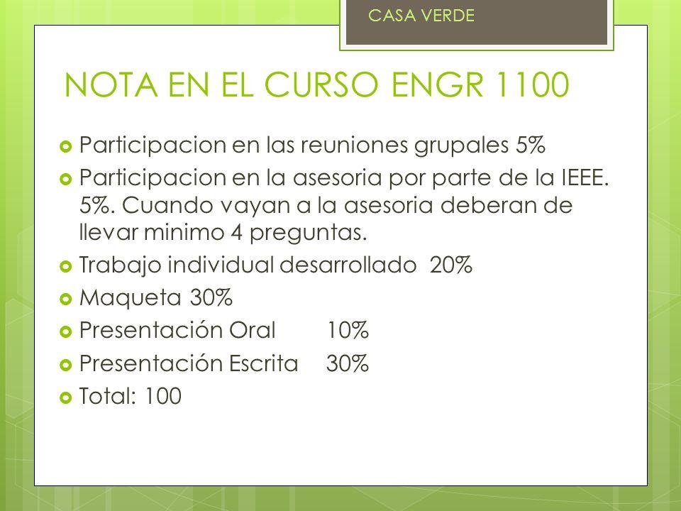 NOTA EN EL CURSO ENGR 1100 Participacion en las reuniones grupales 5% Participacion en la asesoria por parte de la IEEE. 5%. Cuando vayan a la asesori