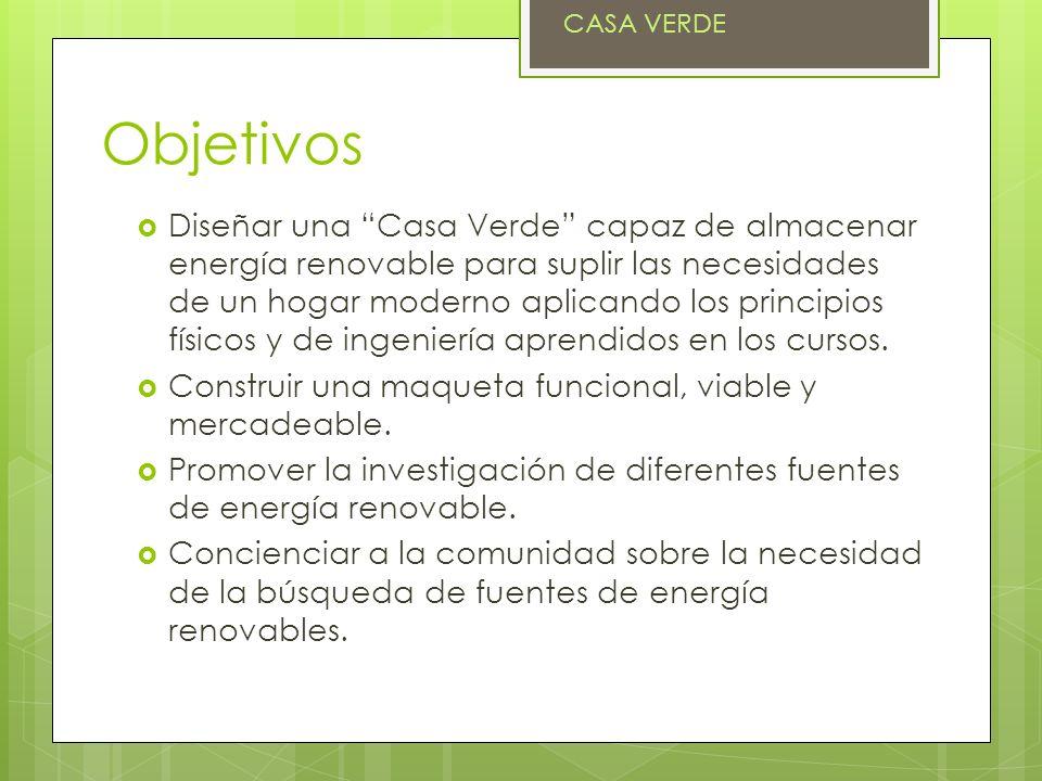 Objetivos Diseñar una Casa Verde capaz de almacenar energía renovable para suplir las necesidades de un hogar moderno aplicando los principios físicos y de ingeniería aprendidos en los cursos.