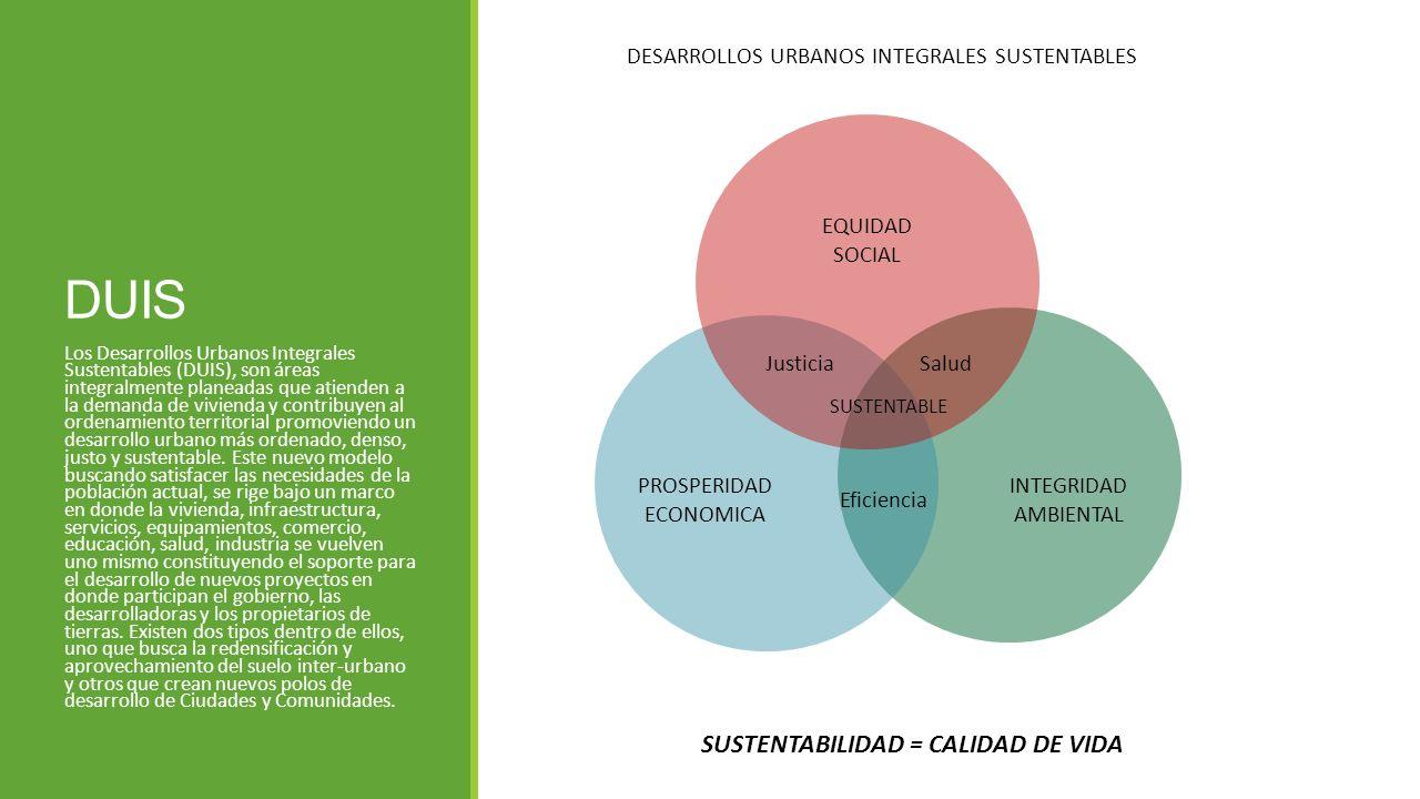 DUIS Los Desarrollos Urbanos Integrales Sustentables (DUIS), son áreas integralmente planeadas que atienden a la demanda de vivienda y contribuyen al