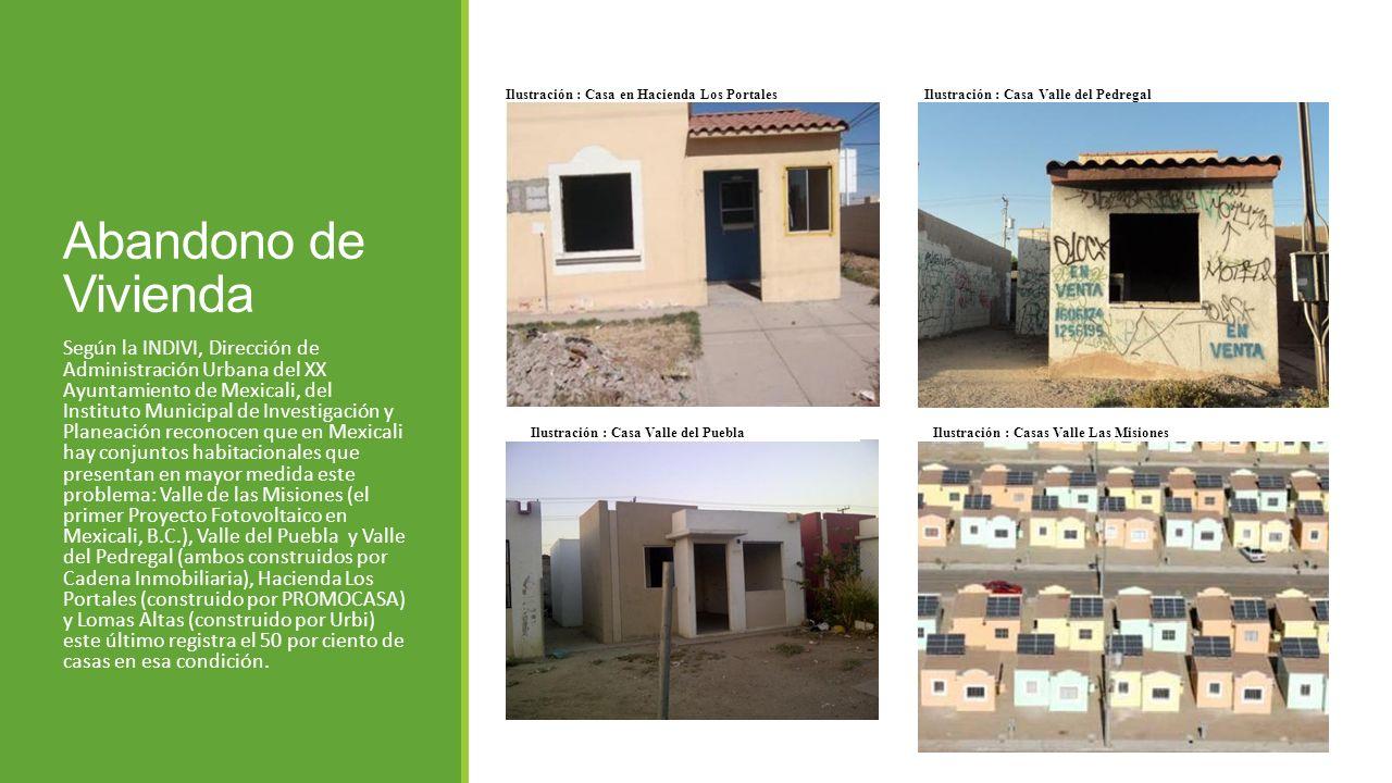 Abandono de Vivienda Según la INDIVI, Dirección de Administración Urbana del XX Ayuntamiento de Mexicali, del Instituto Municipal de Investigación y P