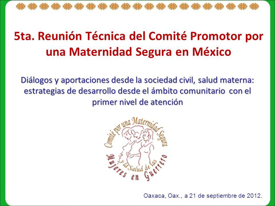 5ta. Reunión Técnica del Comité Promotor por una Maternidad Segura en México Diálogos y aportaciones desde la sociedad civil, salud materna: estrategi