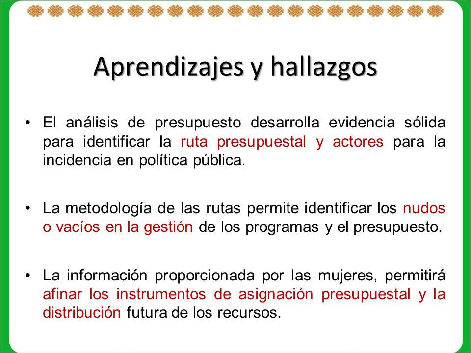 Aprendizajes y hallazgos El análisis de presupuesto desarrolla evidencia sólida para identificar la ruta presupuestal y actores para la incidencia en política pública.
