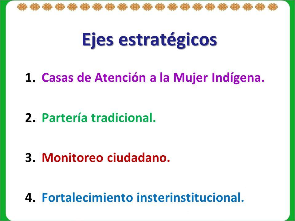 Ejes estratégicos 1.Casas de Atención a la Mujer Indígena.