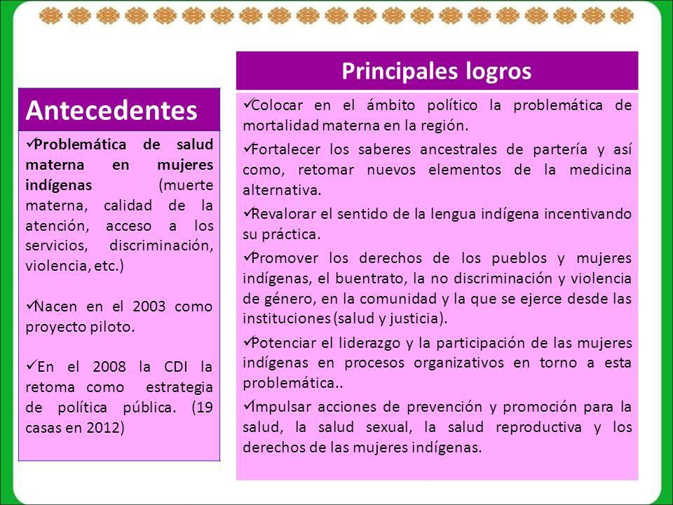 Antecedentes Problemática de salud materna en mujeres indígenas (muerte materna, calidad de la atención, acceso a los servicios, discriminación, violencia, etc.) Nacen en el 2003 como proyecto piloto.
