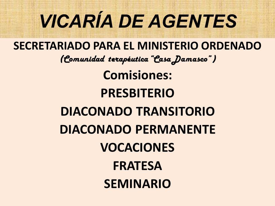 Vicaría de Agentes Perfil: Favorecer la Pastoral de Conjunto, impulsar la continuidad del proceso de formación inicial y permanente, con la participación de los Secretariados y las Comisiones arquidioscesanas.