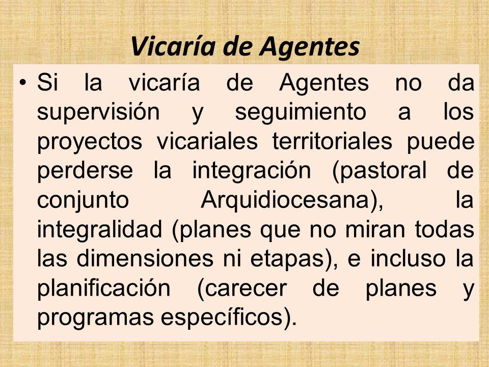 Vicaría de Agentes Si la vicaría de Agentes no da supervisión y seguimiento a los proyectos vicariales territoriales puede perderse la integración (pa
