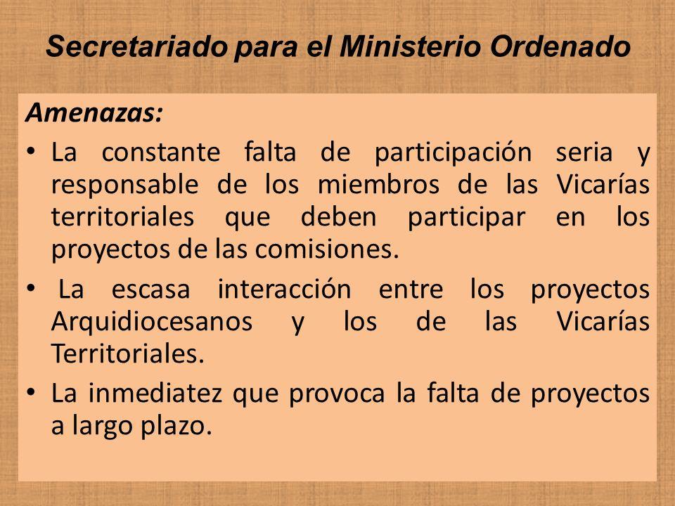 Secretariado para el Ministerio Ordenado Amenazas: La constante falta de participación seria y responsable de los miembros de las Vicarías territorial