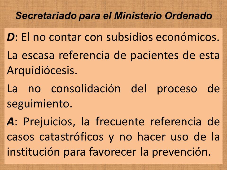 Secretariado para el Ministerio Ordenado D: El no contar con subsidios económicos. La escasa referencia de pacientes de esta Arquidiócesis. La no cons