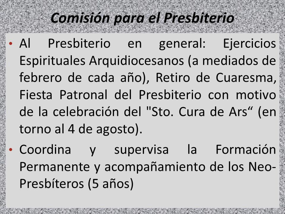 Comisión para el Presbiterio Al Presbiterio en general: Ejercicios Espirituales Arquidiocesanos (a mediados de febrero de cada año), Retiro de Cuaresm