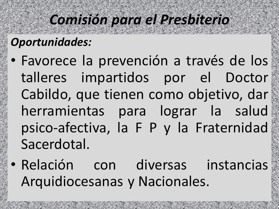 Comisión para el Presbiterio Oportunidades: Favorece la prevención a través de los talleres impartidos por el Doctor Cabildo, que tienen como objetivo