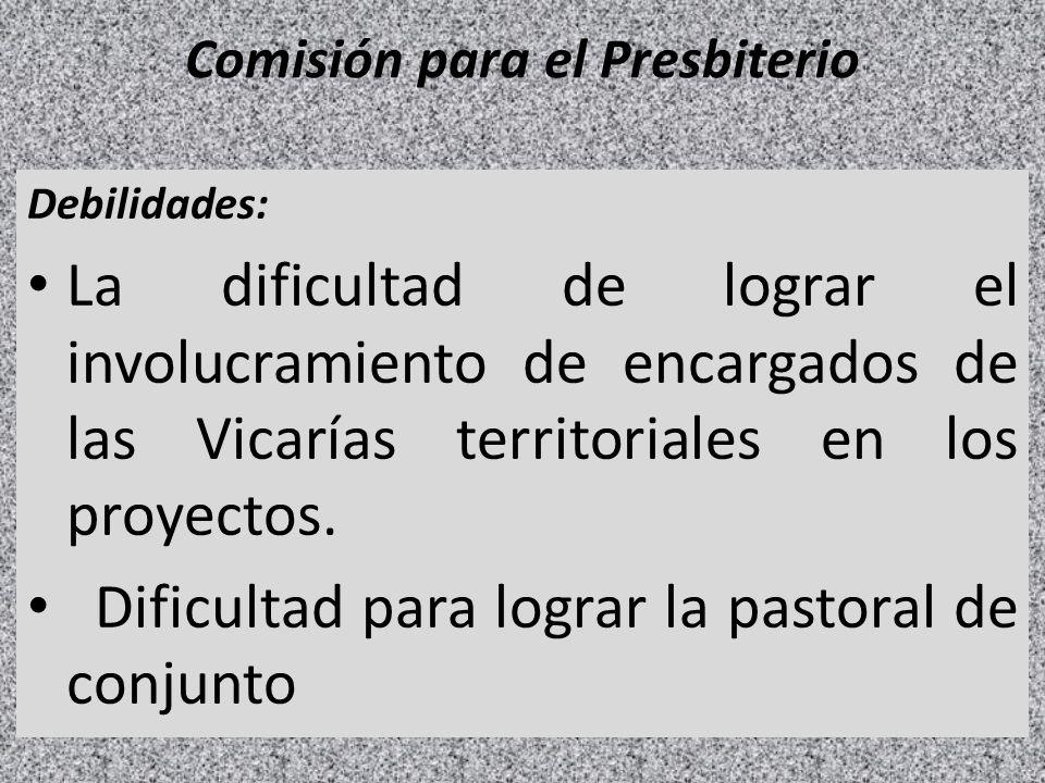 Comisión para el Presbiterio Debilidades: La dificultad de lograr el involucramiento de encargados de las Vicarías territoriales en los proyectos. Dif