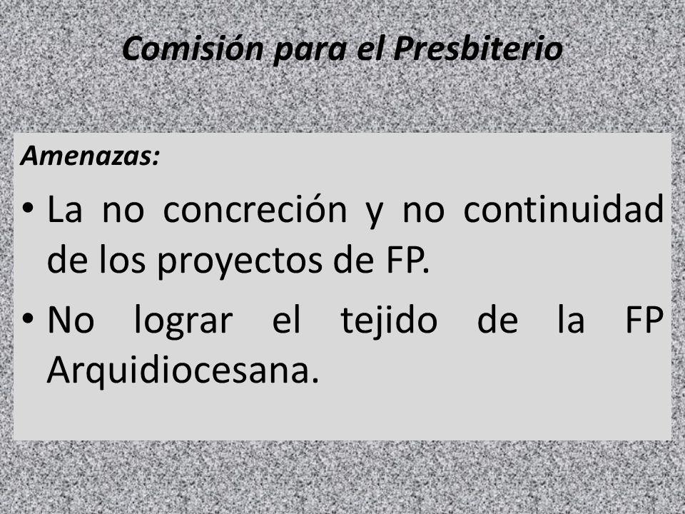 Comisión para el Presbiterio Amenazas: La no concreción y no continuidad de los proyectos de FP. No lograr el tejido de la FP Arquidiocesana.