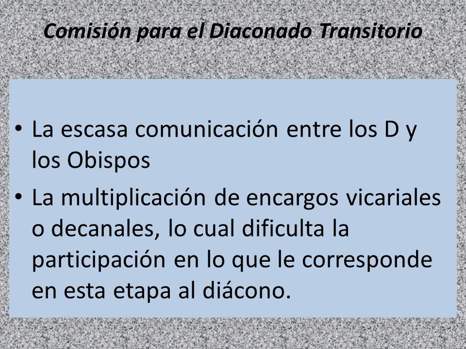 Comisión para el Diaconado Transitorio La escasa comunicación entre los D y los Obispos La multiplicación de encargos vicariales o decanales, lo cual