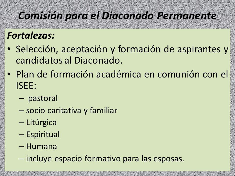 Comisión para el Diaconado Permanente Fortalezas: Selección, aceptación y formación de aspirantes y candidatos al Diaconado. Plan de formación académi