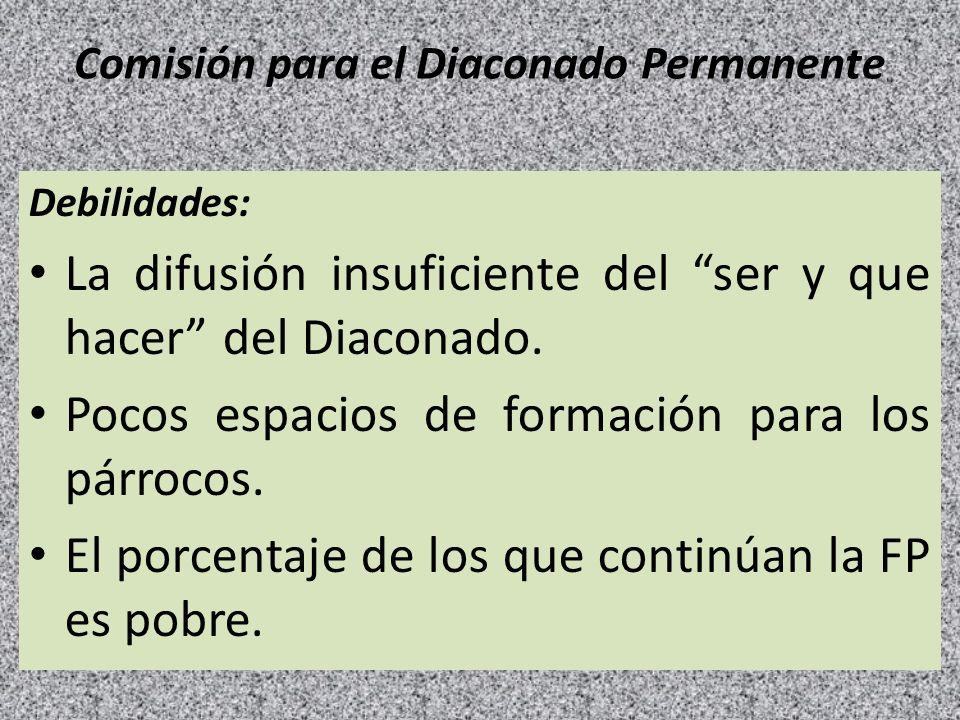 Comisión para el Diaconado Permanente Debilidades: La difusión insuficiente del ser y que hacer del Diaconado. Pocos espacios de formación para los pá