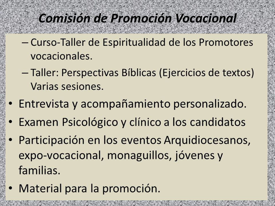 Comisión de Promoción Vocacional – Curso-Taller de Espiritualidad de los Promotores vocacionales. – Taller: Perspectivas Bíblicas (Ejercicios de texto