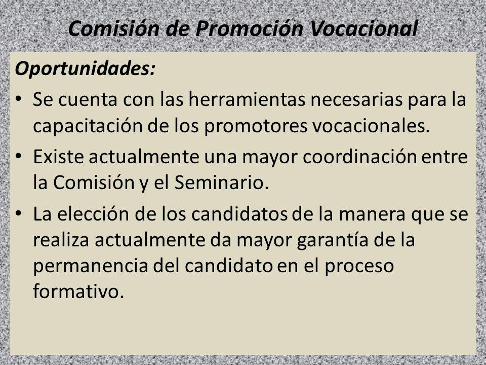 Comisión de Promoción Vocacional Oportunidades: Se cuenta con las herramientas necesarias para la capacitación de los promotores vocacionales. Existe
