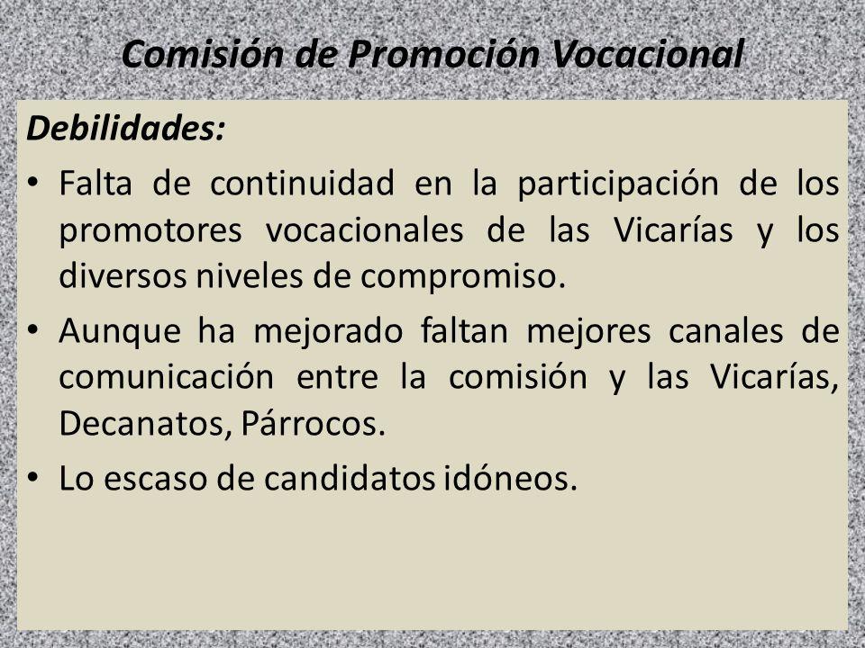 Comisión de Promoción Vocacional Debilidades: Falta de continuidad en la participación de los promotores vocacionales de las Vicarías y los diversos n