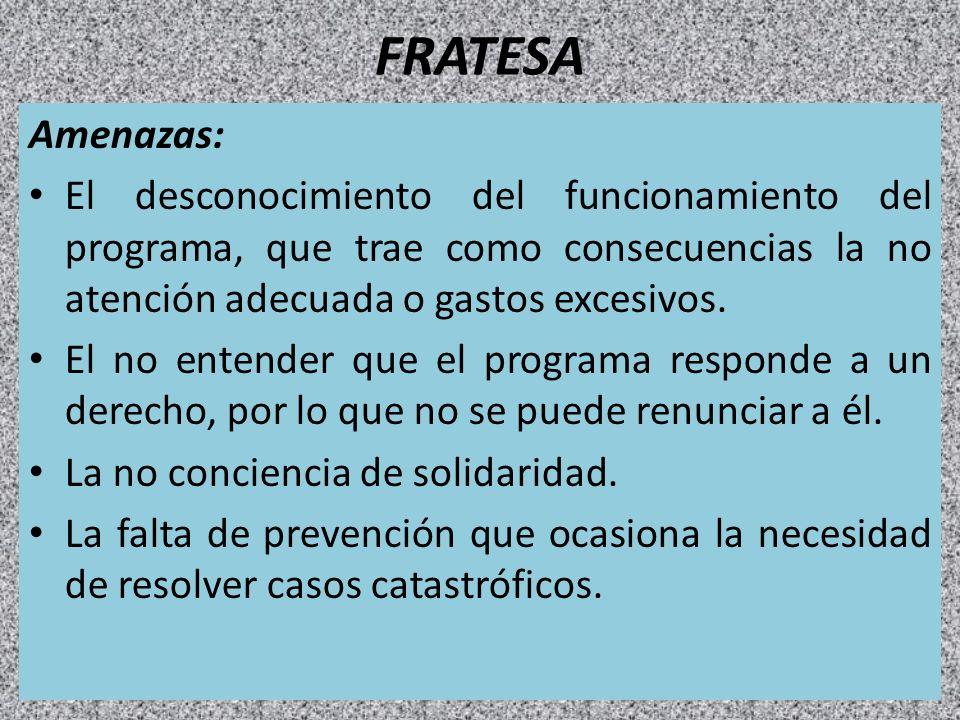 FRATESA Amenazas: El desconocimiento del funcionamiento del programa, que trae como consecuencias la no atención adecuada o gastos excesivos. El no en