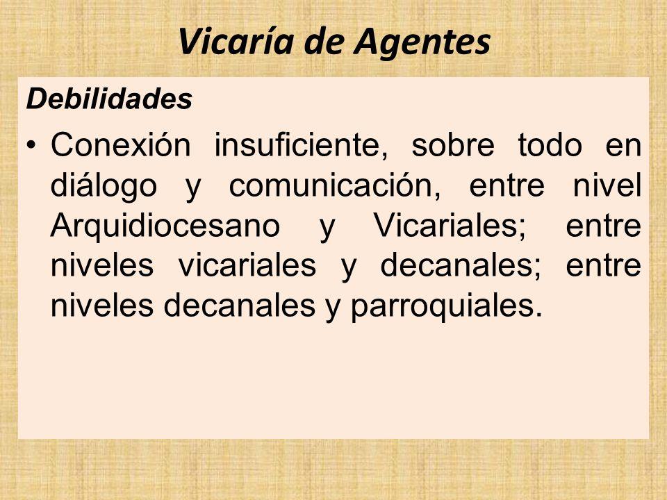 Vicaría de Agentes Debilidades Conexión insuficiente, sobre todo en diálogo y comunicación, entre nivel Arquidiocesano y Vicariales; entre niveles vic