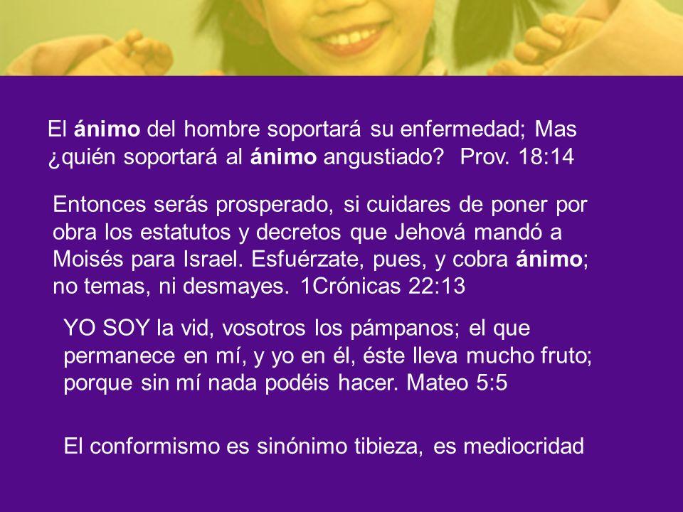 El ánimo del hombre soportará su enfermedad; Mas ¿quién soportará al ánimo angustiado? Prov. 18:14 Entonces serás prosperado, si cuidares de poner por