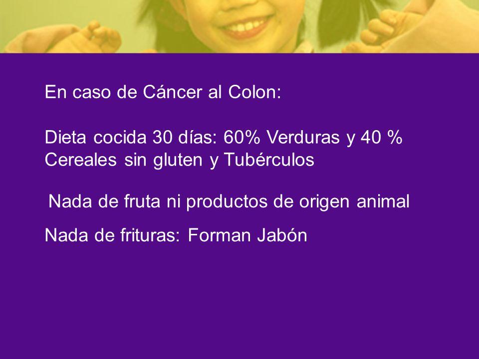 En caso de Cáncer al Colon: Dieta cocida 30 días: 60% Verduras y 40 % Cereales sin gluten y Tubérculos Nada de fruta ni productos de origen animal Nad