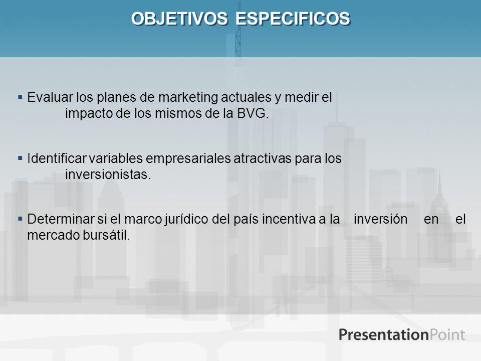 OBJETIVOS ESPECIFICOS Evaluar los planes de marketing actuales y medir el impacto de los mismos de la BVG. Identificar variables empresariales atracti