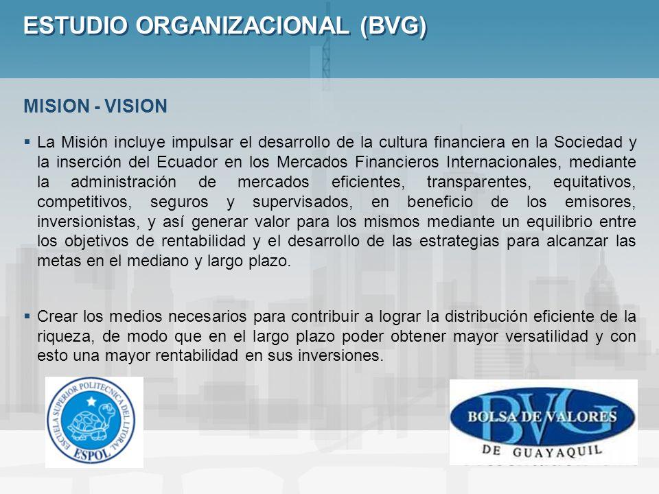 ESTUDIO ORGANIZACIONAL (BVG) La Misión incluye impulsar el desarrollo de la cultura financiera en la Sociedad y la inserción del Ecuador en los Mercad